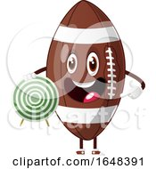 Cartoon American Football Mascot Character Holding A Target