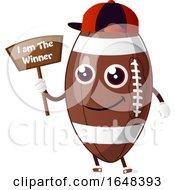 Cartoon American Football Mascot Character Holding A Winner Sign by Morphart Creations