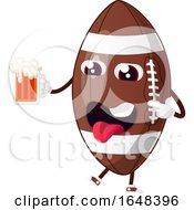 Cartoon American Football Mascot Character Holding A Beer