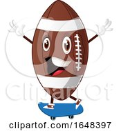 Cartoon American Football Mascot Character Skateboarding