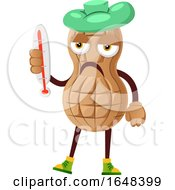 Cartoon Sick Peanut Mascot Character Holding A Thermometer by Morphart Creations