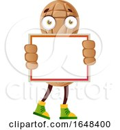 Cartoon Peanut Mascot Character Holding A Blank Sign by Morphart Creations