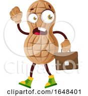 Cartoon Peanut Mascot Character Carrying A Briefcase by Morphart Creations
