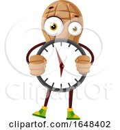 Cartoon Peanut Mascot Character Holding A Clock by Morphart Creations