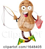 Cartoon Peanut Mascot Character Fishing by Morphart Creations