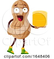 Cartoon Peanut Mascot Character Holding A Stack Of Coins by Morphart Creations