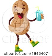 Cartoon Peanut Mascot Character Holding A Drink