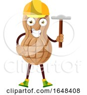 Cartoon Peanut Mascot Character Holding A Hammer by Morphart Creations