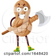 Cartoon Peanut Mascot Character Holding An Axe by Morphart Creations