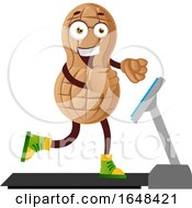 Cartoon Peanut Mascot Character Exercising On A Treadmill by Morphart Creations