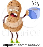 Cartoon Peanut Mascot Character Holding A Coffee Cup by Morphart Creations