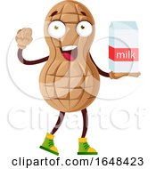 Cartoon Peanut Mascot Character Holding A Milk Carton by Morphart Creations