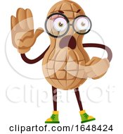Cartoon Peanut Mascot Character Gesturing Stop by Morphart Creations