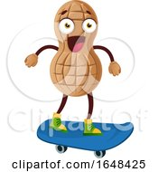 Cartoon Peanut Mascot Character Skateboarding by Morphart Creations