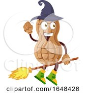 Cartoon Witch Peanut Mascot Character Riding A Broomstick by Morphart Creations