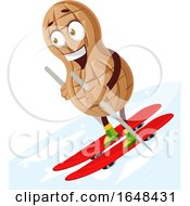 Cartoon Peanut Mascot Character Skiing by Morphart Creations