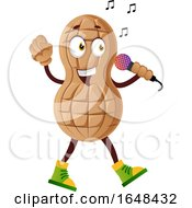 Cartoon Peanut Mascot Character Singing