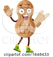 Cartoon Peanut Mascot Character Holding Plans by Morphart Creations