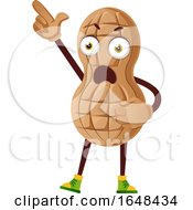 Cartoon Peanut Mascot Character Holding Up A Finger by Morphart Creations