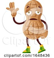 Cartoon Sad Peanut Mascot Character Waving by Morphart Creations