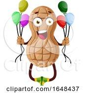 Cartoon Peanut Mascot Character Holding Party Balloons