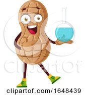 Cartoon Peanut Mascot Character Holding A Laboratory Container