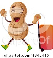 Cartoon Peanut Mascot Character With A Suitcase