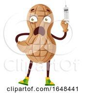 Cartoon Peanut Mascot Character Holding A Syringe