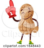 Cartoon Peanut Mascot Character Wearing A Foam Finger