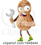 Cartoon Peanut Mascot Character Holding A Wrench