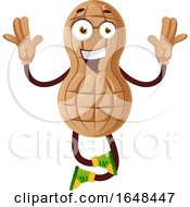 Cartoon Peanut Mascot Character Jumping