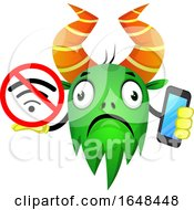 Cartoon Green Monster Mascot Character Holding A Cell Phone And No Signal Sign by Morphart Creations