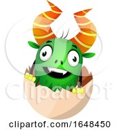 Cartoon Green Monster Mascot Character In An Egg Shell by Morphart Creations