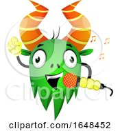 Cartoon Green Monster Mascot Character Singing by Morphart Creations
