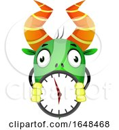 Cartoon Green Monster Mascot Character Holding A Clock by Morphart Creations