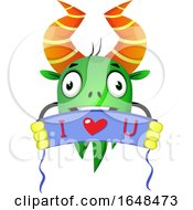 Poster, Art Print Of Cartoon Green Monster Mascot Character Holding An I Love You Banner