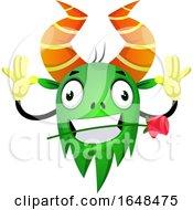 Poster, Art Print Of Cartoon Green Monster Mascot Character Biting A Rose