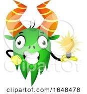 Cartoon Green Monster Mascot Character Holding An Idea Light Bulb by Morphart Creations