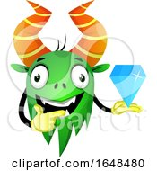 Cartoon Green Monster Mascot Character Holding A Diamond by Morphart Creations
