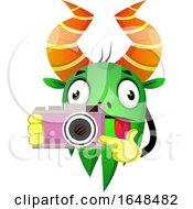 Cartoon Green Monster Mascot Character Holding A Camera by Morphart Creations