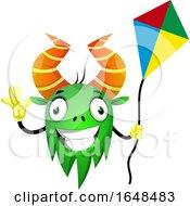 Poster, Art Print Of Cartoon Green Monster Mascot Character Holding A Kite