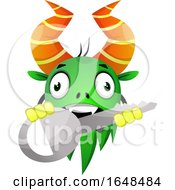 Cartoon Green Monster Mascot Character Holding A Key by Morphart Creations
