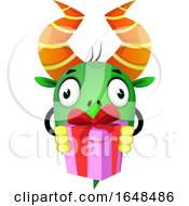 Cartoon Green Monster Mascot Character Holding A Gift by Morphart Creations