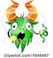 Cartoon Green Monster Mascot Character Holding A Snake by Morphart Creations