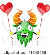 Poster, Art Print Of Cartoon Green Monster Mascot Character Holding Heart Balloons