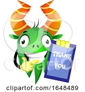 Cartoon Green Monster Mascot Character Holding A Thank You Card