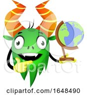 Cartoon Green Monster Mascot Character Holding A Desk Globe by Morphart Creations
