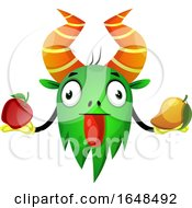 Cartoon Green Monster Mascot Character Holding Fruit by Morphart Creations