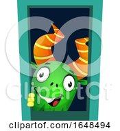 Cartoon Green Monster Mascot Character Peeking by Morphart Creations