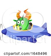Cartoon Green Monster Mascot Character Flying A Plane by Morphart Creations